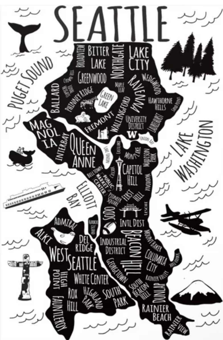Seattle Neighborhoods map by Kathryn Sich
